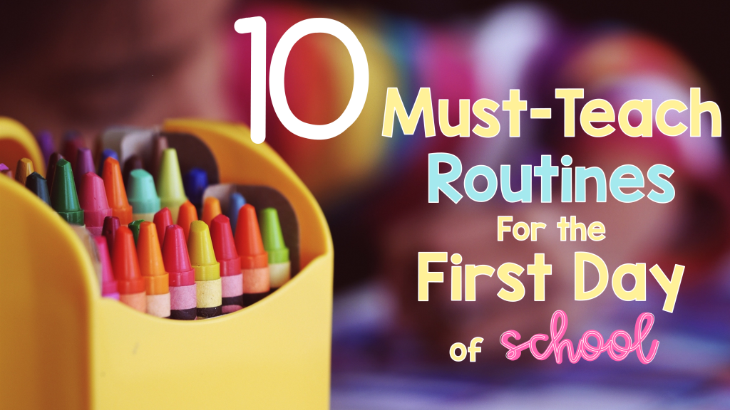 The first day back to school can be very stressful for teachers. These are 10 routines that teachers must teach on the first day back is a helpful tool for creating routines and classroom procedures that will lead to a successful school year. New teachers and (seasoned teachers too) benefit from these routines as they set up strong classroom management procedures starting on day one. #backtoschool # firstday #routines #teachers