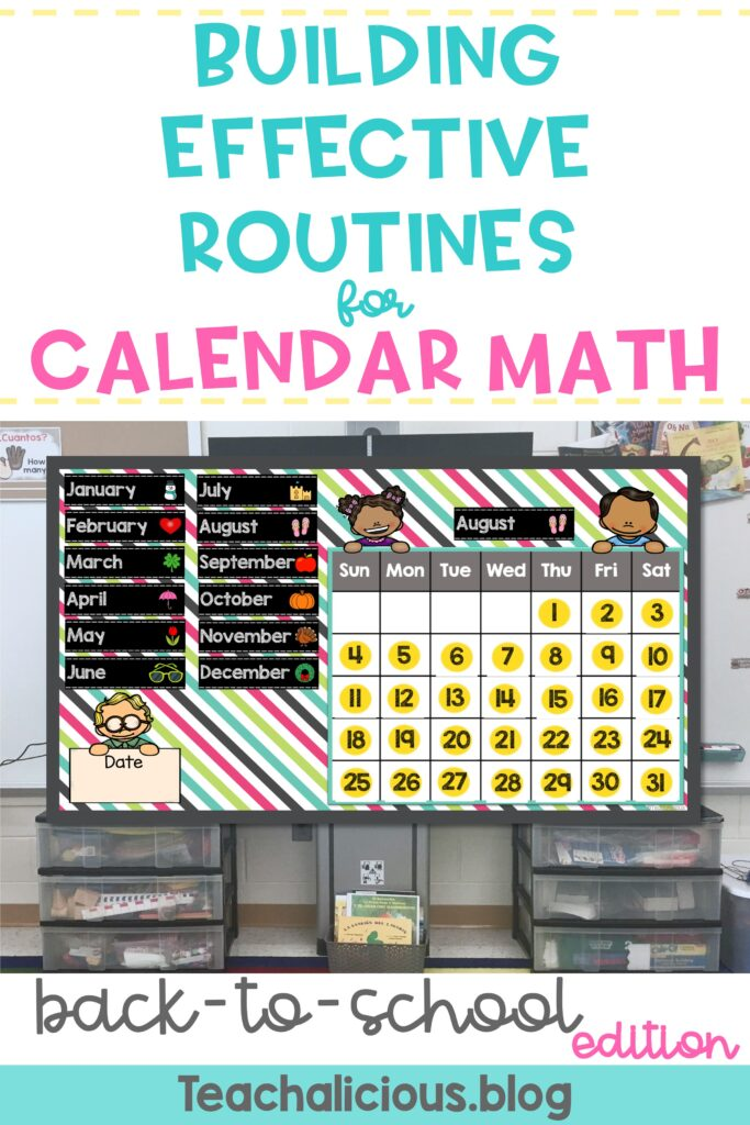 Month calendar on interactive board showing the month of August titled Building effective routines for calendar math back to school edition.