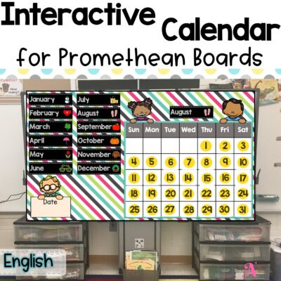 Interactive calendar for Promethean Board in English