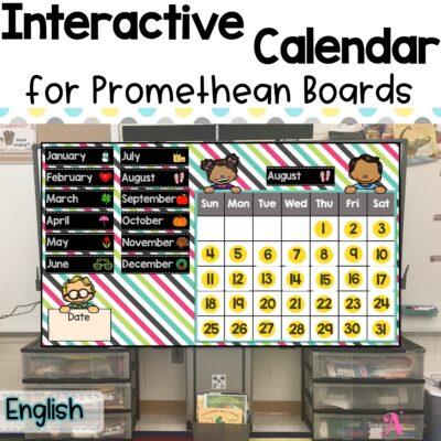 Interactive calendar for Promethean Board in English