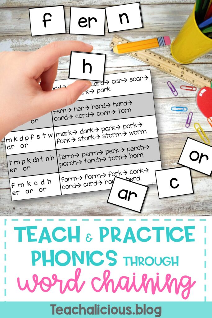 Teach & Practice Phonics through word chaining. Hand holding letter H. Card with words and letter chunks on top of table.