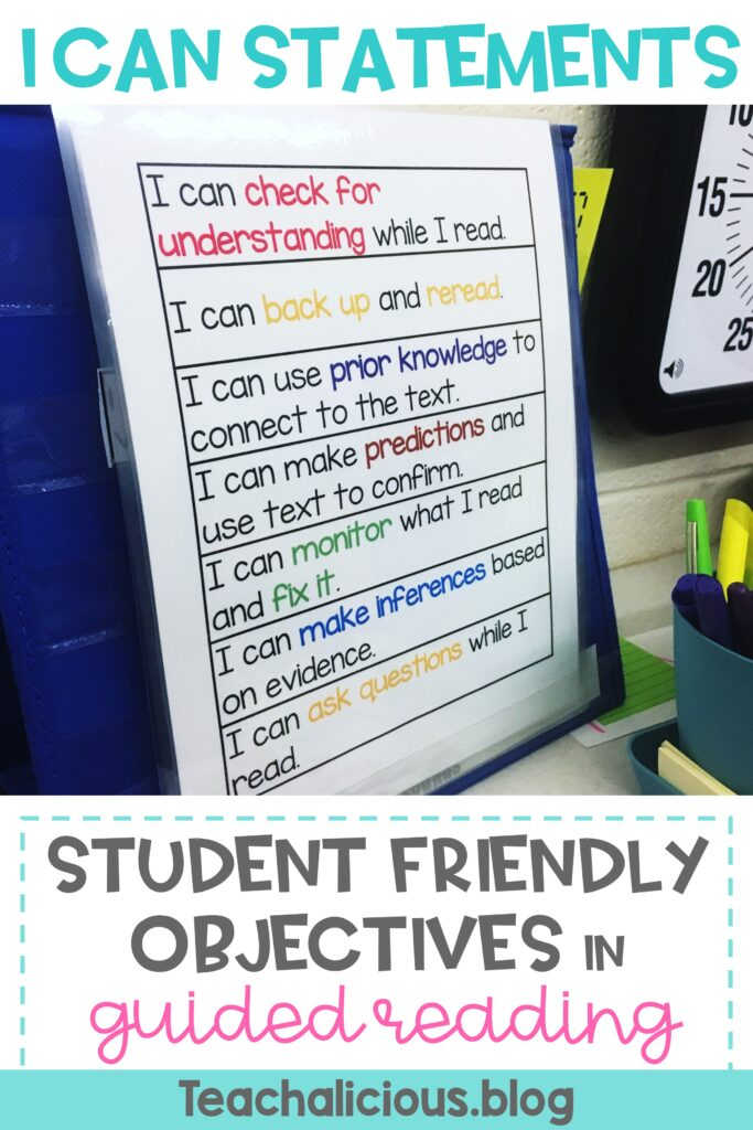 Chart with I can statements on a pocket chart. Words read: I can statements student friendly objective students in guided reading.