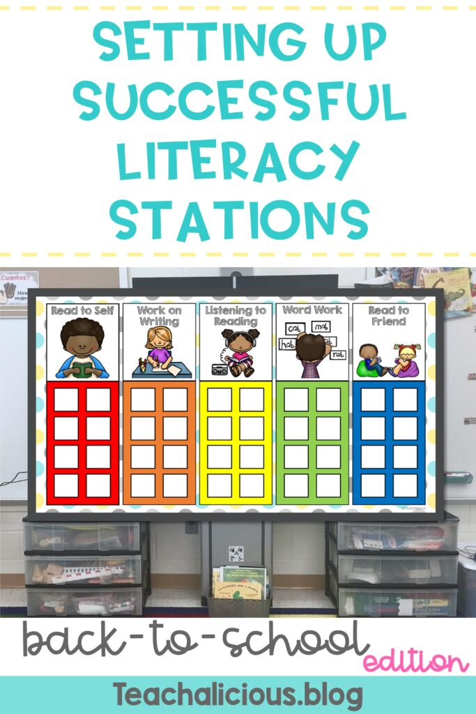 Digital board displaying a chart for literacy stations with 5 columns. Columns read: read to self, work on writing, listening to reading, word work, and read to friend.