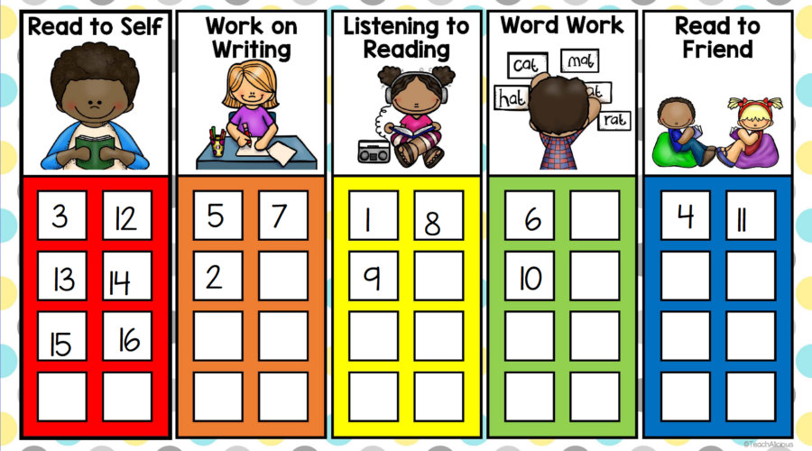 Literacy stations with pictures for read to self, work on writing, listening to reading, word work, and read to friend. Number 1-16 to show the station picked.